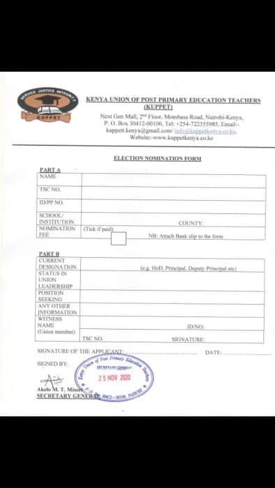 Kuppet nomination form for aspirants.