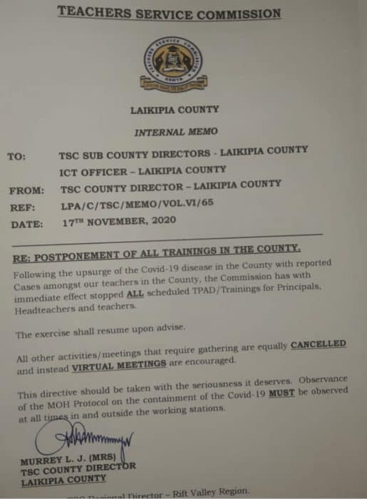 TSC memo postponing the TPAD2 training exercise in Laikipia County.