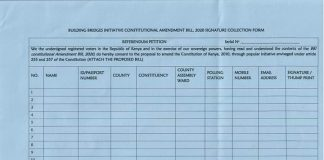 BBI referendum signature collection form by IEBC.