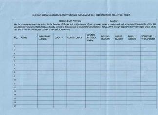 BBI referendum signature collection form by IEBC.