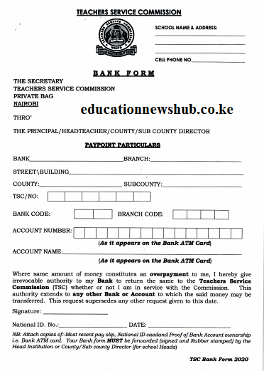How to change the TSC pay point for teachers' salaries by filling the bank form.