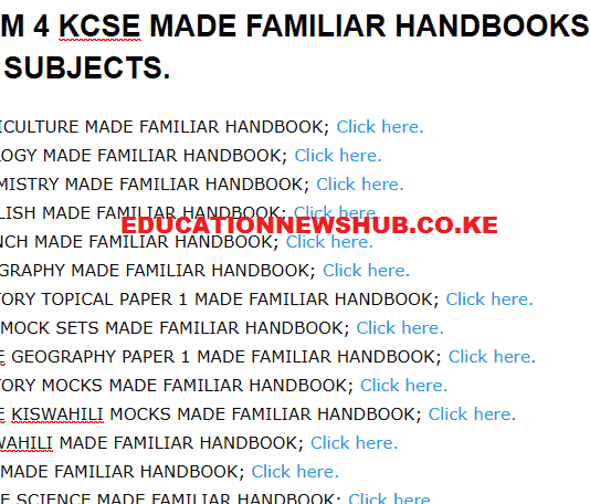 KCSE revision materials free downloads.