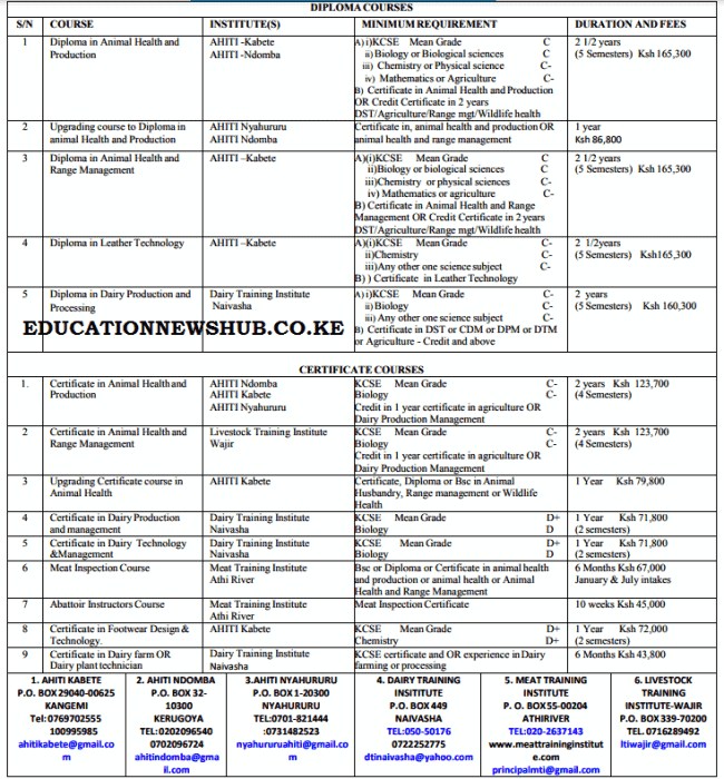 Ministry of Agriculture training opportunities.