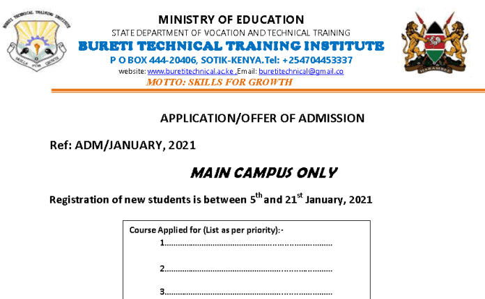 Bureti Technical College admission/application form.