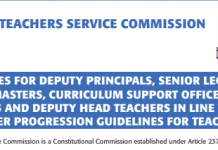 TSC advert for promotions of teachers in December 2020.