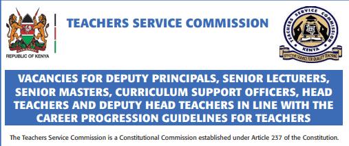TSC advert for promotions of teachers in December 2020.
