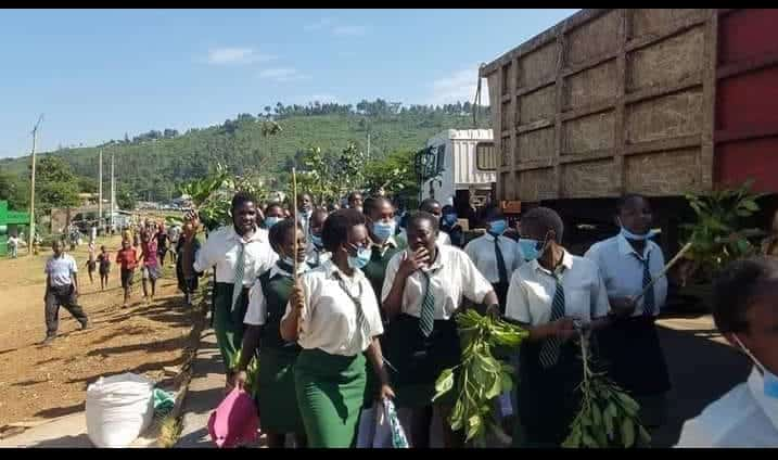 Lugulu Girls High School students at the demos on Tuesday morning.
