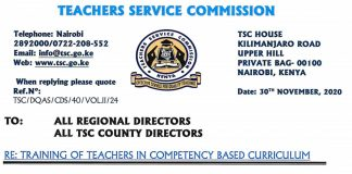 TSC Memo to teachers on involvement in politics.