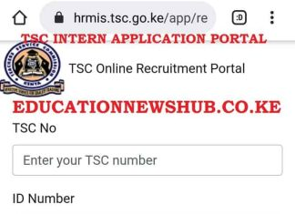 TSC intern application portal https://hrmis.tsc.go.ke/app/login.