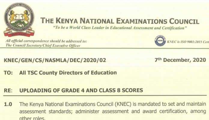 KNEC circular on uploading of scores to the LCBE portal.
