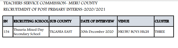Meru County TSC intern teachers recruitment dates and venues.