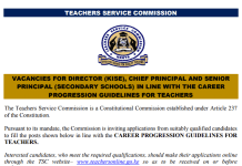 TSC promotions for Principals.