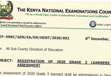 KNEC circular on registration of the 2020 grade 3 learners for assessment in 2021.