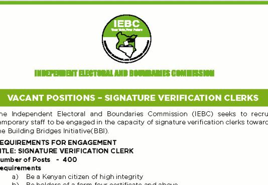 IEBC jobs for data verification clerks.