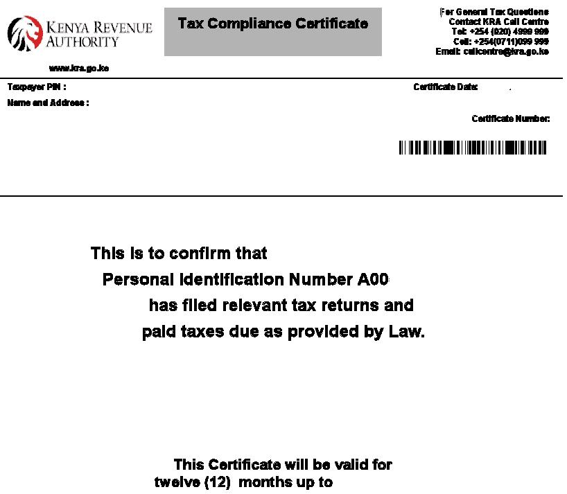 The KRA Tax Compliance Certificate (TCC).