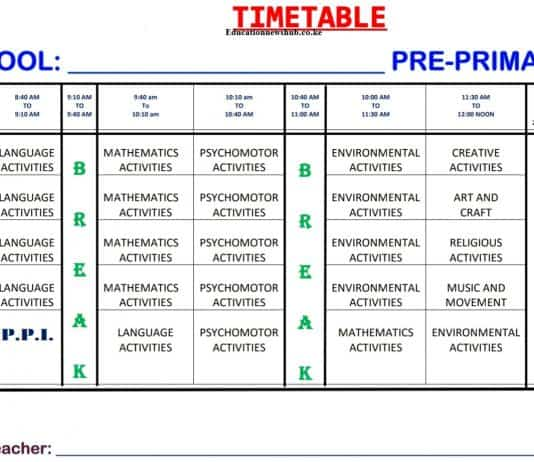 Free primary school time tables.