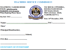 TSC internship extension letters.