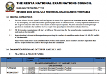 2021 Technical Exams Timetable.