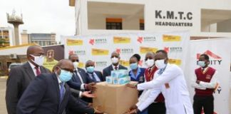 KMTC Students receive Surgical Masks from Kenya Covid 19 Fund Board and Equity Group Foundation scaled.