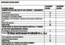 Latest TSC promotion interviews marking scheme.