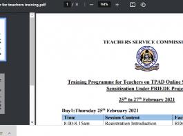 Tpad 2 training for teachers by TSC.