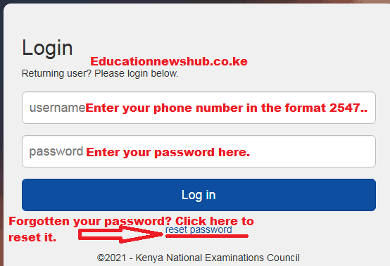 Knec examiners log in window.