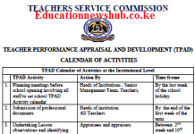 TPAD 2 termly calendar of activities.