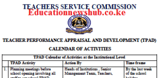 TPAD 2 termly calendar of activities.