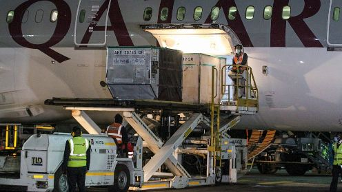Consignment of the 1 million vaccines from COVAX when it landed at the JKIA on Tuesday night
