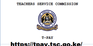 The new TSC payslip login window at https://tpay.tsc.go.ke/