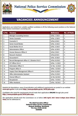 Apply for these open vacancies at the National Police Service.
