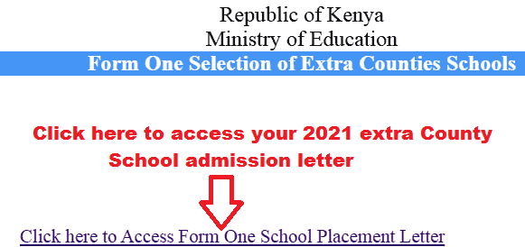 Extra County 2021 Form Admission Letter Download Portal 1