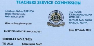 TSC circular to teachers on filing of KRA returns.