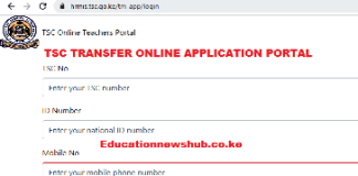 TSC online transfer application portal login.