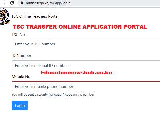 TSC online transfer application portal login.