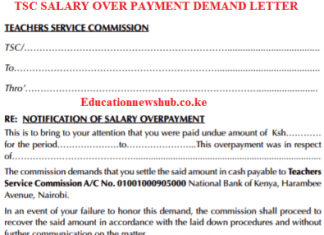 TSC salary over payment demand letter to a teach.
