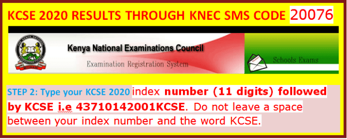 KCSE results 2020-2021 through SMS and Knec online portal.