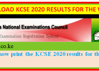 How to get KCSE 2020 results for all candidates and schools.