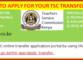TSC teachers online transfer application guide.