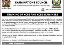 Advert for training of Knec examiners in 2021