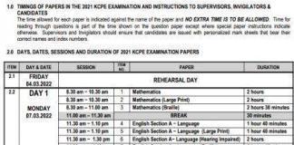 KCPE Timetable 2021-2022