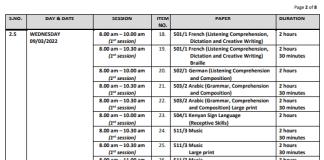 KCSE Timetable 2021-2022